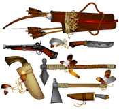 Set of  weapons American Indian Royalty Free Stock Photography