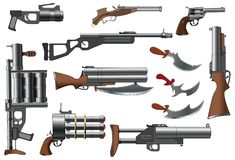 Set of Weapons with Flowers for you Design and Computer Game Royalty Free Stock Images