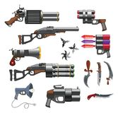 Set of Weapons with Flowers for you Design and Computer Game Stock Photography