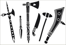 Set of weapons of native american. Royalty Free Stock Image