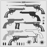 Set of weapons. Revolvers and bullets. Vector monochrome Illustration Stock Images