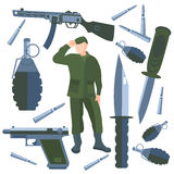 Set  weapons, soldier weapon, knife Royalty Free Stock Images