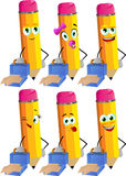 Set of weary but smiling pencils with an opened briefcase Royalty Free Stock Images