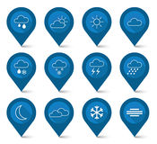 Set of weather blue icons - map pointer style Stock Images