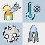 Set weather conditions and natural temperature. Vector illustration royalty free illustration