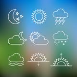Set of weather flat style icons. Vector. Set of weather forecast flat style icons. Vector illustration Stock Photo