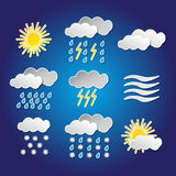 Set of weather funny icons with shadows Stock Photos
