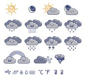 Set of weather grey icons. Set of weather icons. Vector illustration Stock Photo