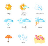 Set of a weather icon. Vector illustration Stock Photography