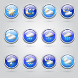 Set of weather icon buttons Royalty Free Stock Photo