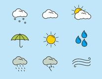 Set of weather icons, weather vector illustration. Set of weather icon, weather vector illustration, weather symbol