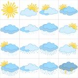 Set weather icons Stock Photography