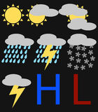 Set of Weather Icons Stock Photos