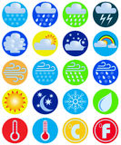 Set weather icons. Vector drawing. Weather icons on bright colored circles Stock Photography