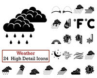 Set of 24 Weather Icons Royalty Free Stock Photography