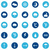 Set of weather icons on color background,  illustration Stock Image