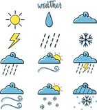 Set of weather icons with colors royalty free illustration