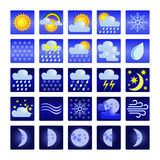 Set of weather icons. Weather icons for day and night. Images of the moon phases Royalty Free Stock Photo