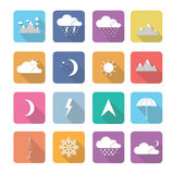 Set of  weather icons in flat design Royalty Free Stock Photography