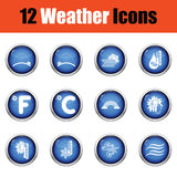 Set of weather icons. Flat design tennis icon set in ui colors. Stock Images