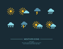 Set  Weather icons. Weather icons in flat style on a dark blue background. Vector illustration Stock Image