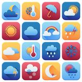 Set of weather icons. Flat style Royalty Free Stock Photography