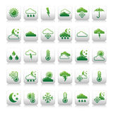 Set of weather icons - green Royalty Free Stock Photos