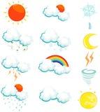 Set of weather icons. Illustration of isolated set of weather icons on white Stock Photo