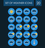 Set of weather icons for the interface. Vector illustration Royalty Free Illustration