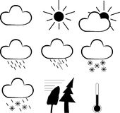 Set of weather icons isolated on white Royalty Free Stock Photos