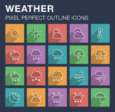 Set of weather icons with long shadow. Pixel perfect outline icons for mobile apps and web design. Editable stroke Royalty Free Stock Images