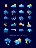Set of 20 weather icons over blue background. Vector illustration. Set of 20 weather icons over blue background. Funny vector illustration with intuitive Royalty Free Stock Photography