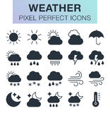 Set of weather icons. Pixel perfect trendy icons for mobile apps and web design Royalty Free Stock Images