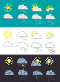 Set of 8 weather icons. Stock Photo