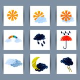 Set of weather icons sun, moon, clouds, lightning, rain, umbrell Stock Photos