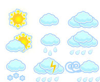 Set of weather icons,vector Royalty Free Stock Photo