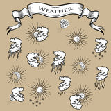 Set of weather icons. Set of vector weather icons in engraving style Stock Image