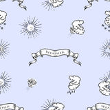 Seamless pattern with weather symbols Royalty Free Stock Photography