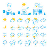 Set of weather icons vector illustration season outline design thunder temperature sign Stock Photos