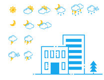 Set of weather icons vector illustration season outline design thunder temperature sign Royalty Free Stock Images