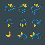Set of weather icons vector illustration season outline design thunder temperature sign Stock Photo