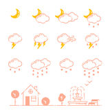Set of weather icons vector illustration season outline design thunder temperature sign Royalty Free Stock Photos