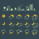 Set of weather icons vector illustration season outline design thunder temperature sign Royalty Free Stock Photography