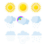 Set of weather icons vector. Royalty Free Stock Images