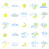 Set of weather icons. Set of vector little rectangular weather icons Stock Photography