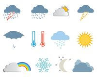 Set of weather icons Royalty Free Stock Photos