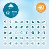 Set of weather icons and widget template Royalty Free Stock Images