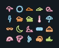 Set of 20 weather line icons. Weather neon line icons, forecast vector illustration Stock Photos