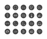 Set of 20 weather line icons. Weather thin line icons, forecast vector illustration Royalty Free Stock Image