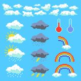 Set of weather pixel elements. Clouds, thunderclouds, rainbow. Vector illustration stock illustration